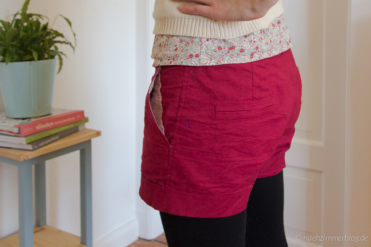 Pocket Lining Detail on Burda Easy Shorts | naehzimmerblog.de