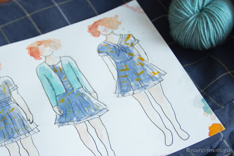Drawing of possible dresses for the 2016 Outfit-Along | naehzimmerblog.de