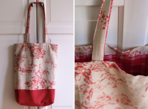 Handmade Floral Tote Bag in Toile de Jouy Fabric